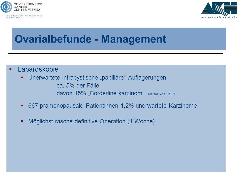 """Ovarialbefunde - Management  Laparoskopie  Unerwartete intracystische """"papilläre"""" Auflagerungen ca. 5% der Fälle davon 15% """"Borderline""""karzinom Mara"""