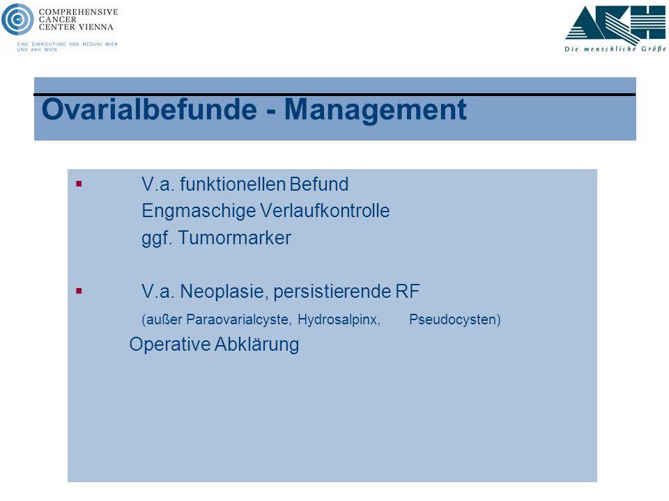 Ovarialbefunde - Management  V.a. funktionellen Befund Engmaschige Verlaufkontrolle ggf. Tumormarker  V.a. Neoplasie, persistierende RF (außer Parao