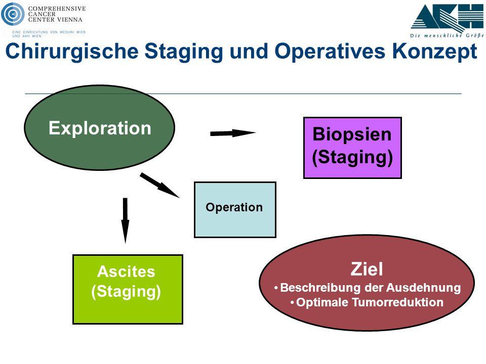 Chirurgische Staging und Operatives Konzept Exploration Ascites (Staging) Operation Biopsien (Staging) Ziel Beschreibung der Ausdehnung Optimale Tumor