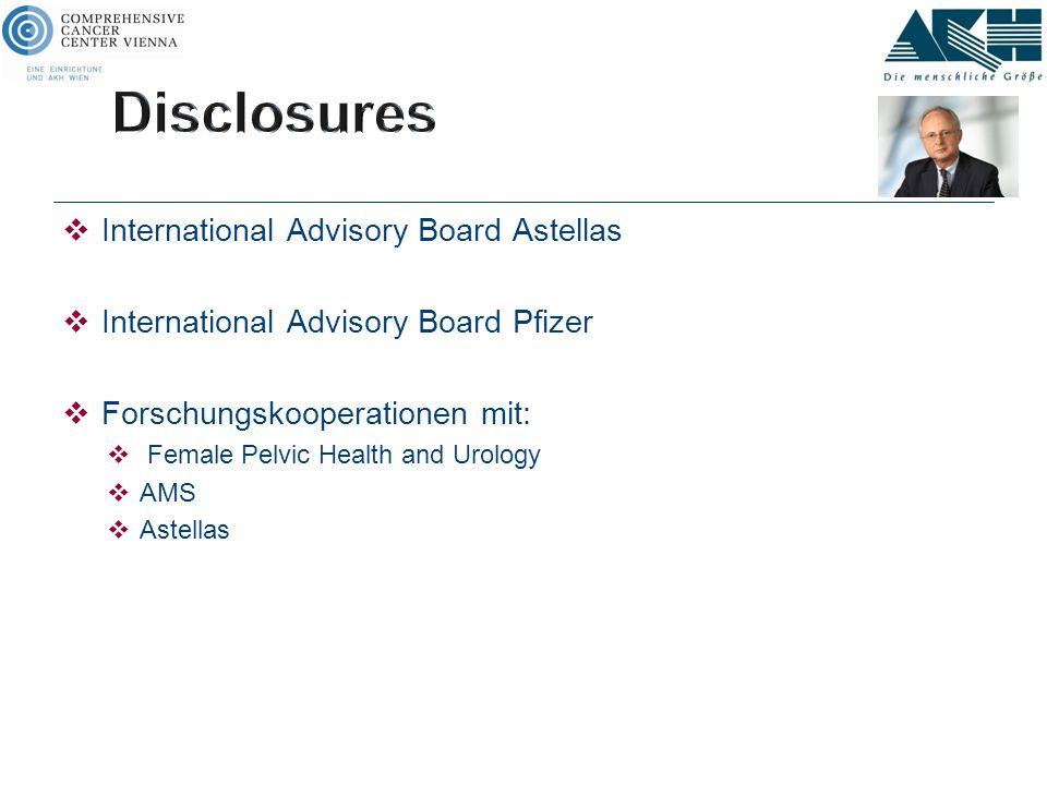  International Advisory Board Astellas  International Advisory Board Pfizer  Forschungskooperationen mit:  Female Pelvic Health and Urology  AMS