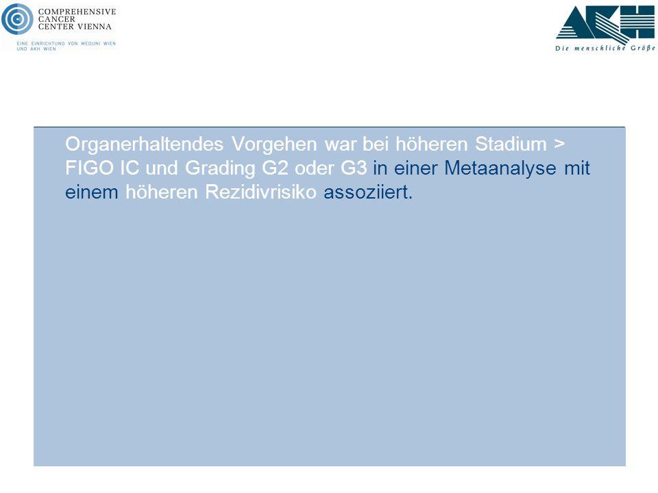 Organerhaltendes Vorgehen war bei höheren Stadium > FIGO IC und Grading G2 oder G3 in einer Metaanalyse mit einem höheren Rezidivrisiko assoziiert. St