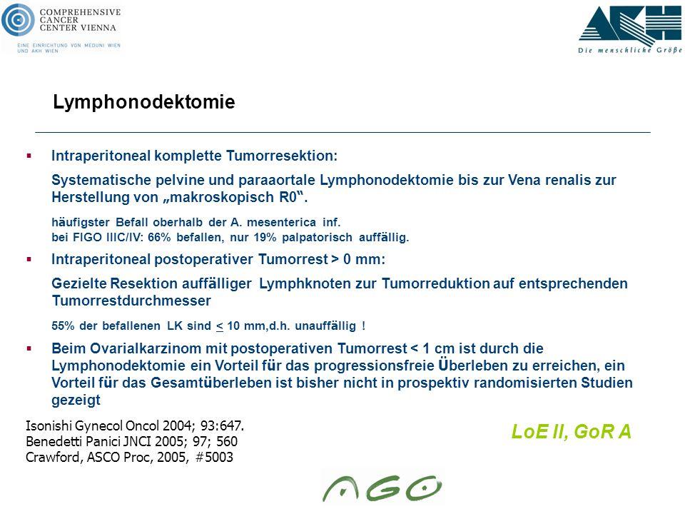 """ Intraperitoneal komplette Tumorresektion: Systematische pelvine und paraaortale Lymphonodektomie bis zur Vena renalis zur Herstellung von """" makrosko"""