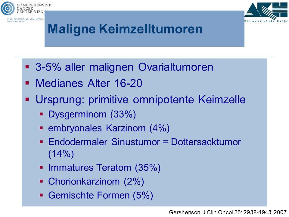 Maligne Keimzelltumoren  3-5% aller malignen Ovarialtumoren  Medianes Alter 16-20  Ursprung: primitive omnipotente Keimzelle  Dysgerminom (33%) 