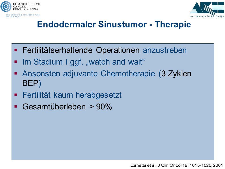 """Endodermaler Sinustumor - Therapie  Fertilitätserhaltende Operationen anzustreben  Im Stadium I ggf. """"watch and wait""""  Ansonsten adjuvante Chemothe"""