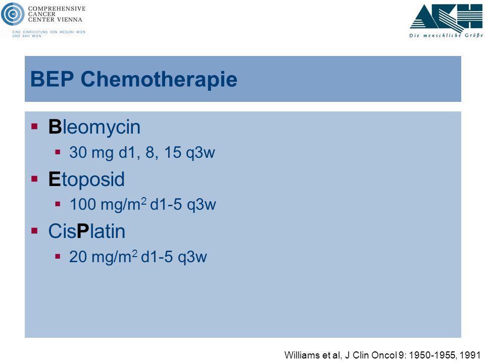 BEP Chemotherapie  Bleomycin  30 mg d1, 8, 15 q3w  Etoposid  100 mg/m 2 d1-5 q3w  CisPlatin  20 mg/m 2 d1-5 q3w Williams et al, J Clin Oncol 9: