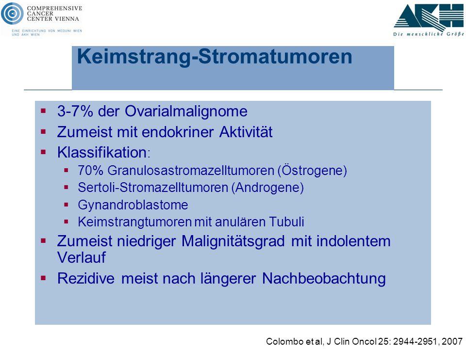Keimstrang-Stromatumoren  3-7% der Ovarialmalignome  Zumeist mit endokriner Aktivität  Klassifikation :  70% Granulosastromazelltumoren (Östrogene