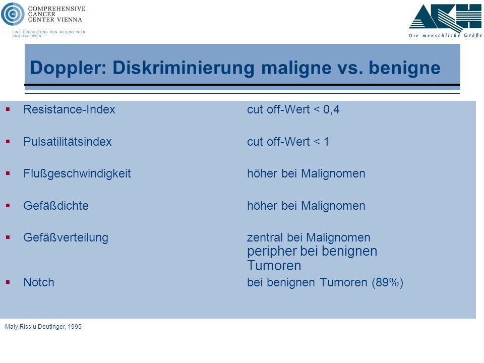 Doppler: Diskriminierung maligne vs. benigne  Resistance-Indexcut off-Wert < 0,4  Pulsatilitätsindexcut off-Wert < 1  Flußgeschwindigkeithöher bei