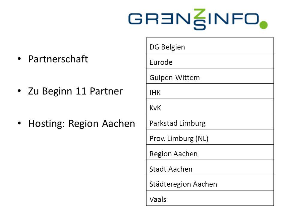 Partnerschaft Zu Beginn 11 Partner Hosting: Region Aachen DG Belgien Eurode Gulpen-Wittem IHK KvK Parkstad Limburg Prov. Limburg (NL) Region Aachen St