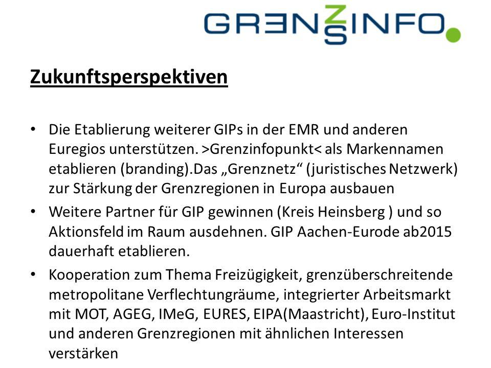 Zukunftsperspektiven Die Etablierung weiterer GIPs in der EMR und anderen Euregios unterstützen. >Grenzinfopunkt< als Markennamen etablieren (branding
