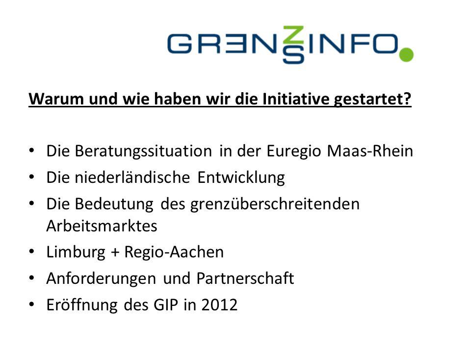Warum und wie haben wir die Initiative gestartet? Die Beratungssituation in der Euregio Maas-Rhein Die niederländische Entwicklung Die Bedeutung des g