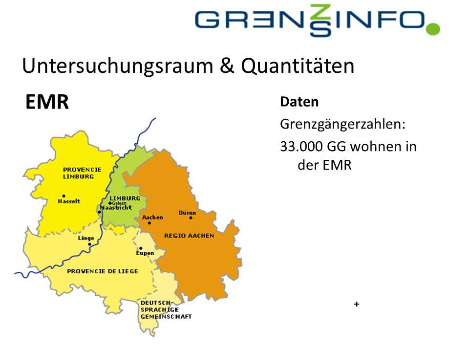Untersuchungsraum & Quantitäten EMR Grenzgängerzahlen: 33.000 GG wohnen in der EMR Daten +