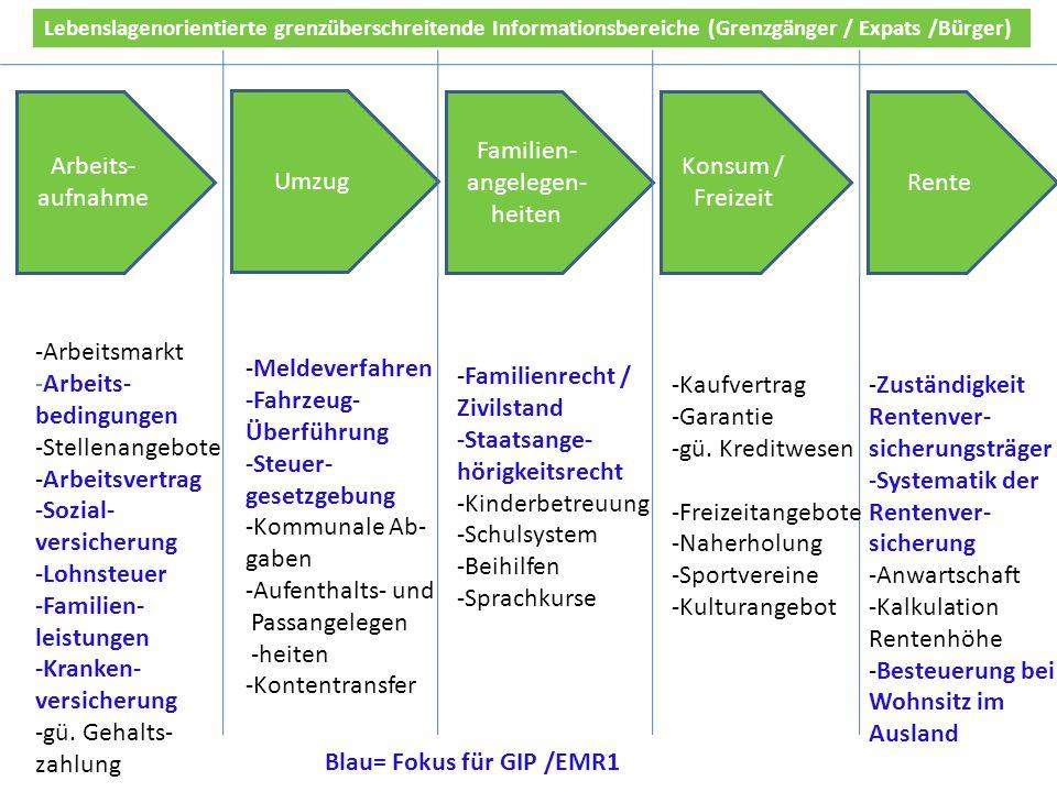 Umzug Arbeits- aufnahme Familien- angelegen- heiten Konsum / Freizeit Rente -Arbeitsmarkt -Arbeits- bedingungen -Stellenangebote -Arbeitsvertrag -Sozi