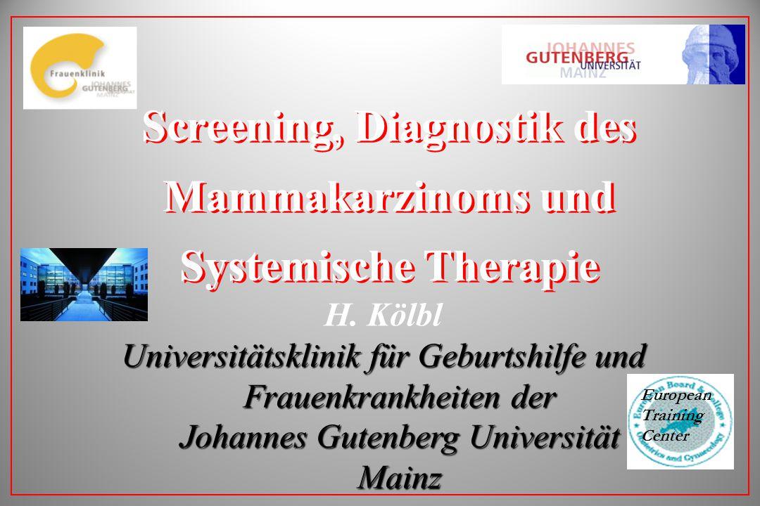 Screening, Diagnostik des Mammakarzinoms und Systemische Therapie H. Kölbl Universitätsklinik für Geburtshilfe und Frauenkrankheiten der Johannes Gute