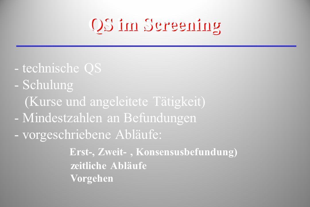 - technische QS - Schulung (Kurse und angeleitete Tätigkeit) - Mindestzahlen an Befundungen - vorgeschriebene Abläufe: Erst-, Zweit-, Konsensusbefundu