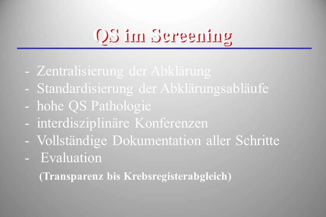 - Zentralisierung der Abklärung - Standardisierung der Abklärungsabläufe - hohe QS Pathologie - interdisziplinäre Konferenzen - Vollständige Dokumenta