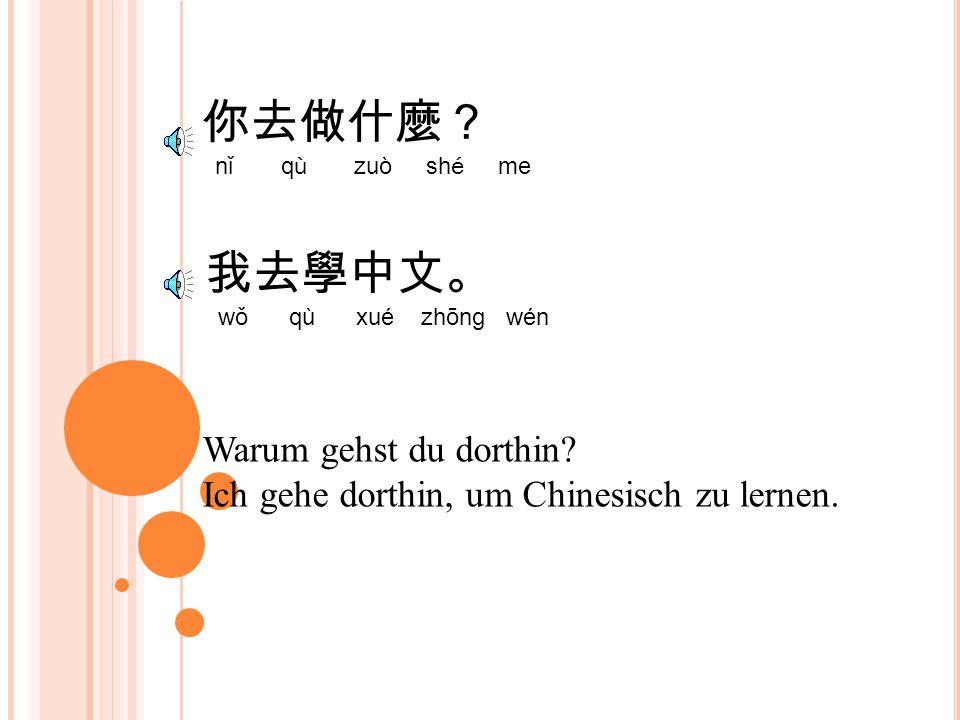 你去做什麼? nǐ qù zuò shé me Warum gehst du dorthin.Ich gehe dorthin, um Chinesisch zu lernen.