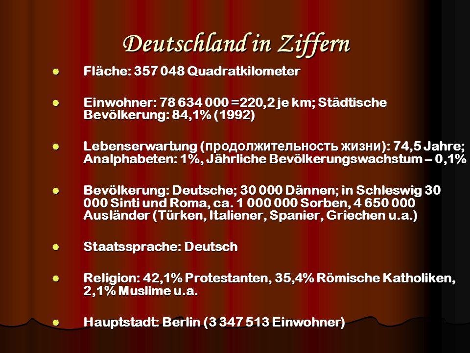 Deutschland in Ziffern Fläche: 357 048 Quadratkilometer Fläche: 357 048 Quadratkilometer Einwohner: 78 634 000 =220,2 je km; Städtische Bevölkerung: 8
