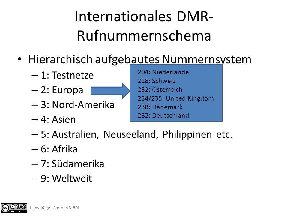 DMR-Rufnummernschema im Deutsch-sprachigen Raum http://register.ham-digital.net/admin/reg-ids.php Hans-Jürgen Barthen DL5DI
