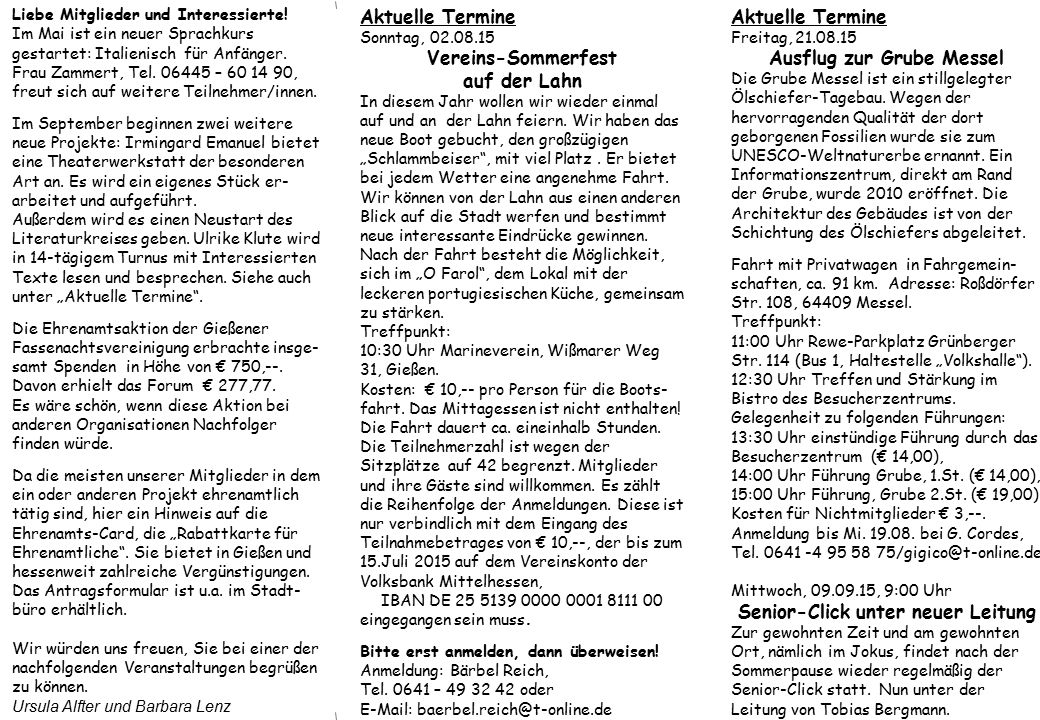 Aktuelle Termine Freitag, 25.09.15 Wanderung durch das sagenhafte Schächerbachtal Das Schächerbachtal präsentiert sich dem Wanderer als eine wunderschöne Idylle.