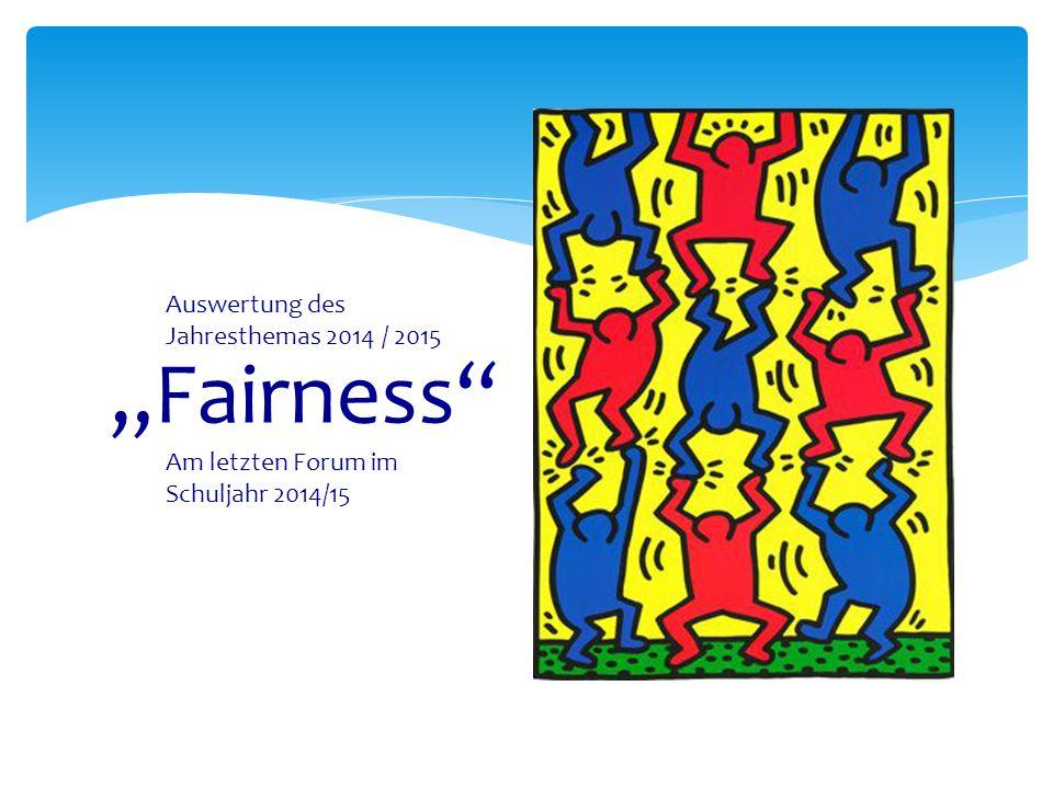 """""""Fairness"""" Auswertung des Jahresthemas 2014 / 2015 Am letzten Forum im Schuljahr 2014/15"""
