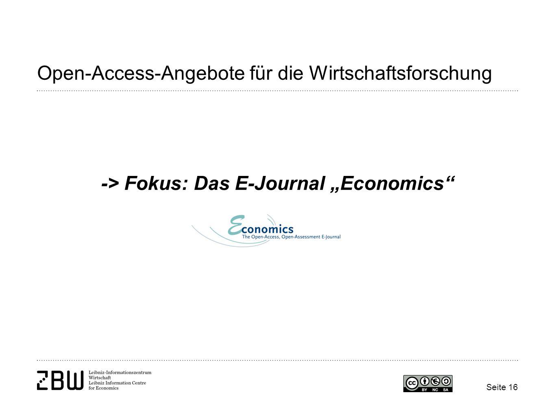 """Open-Access-Angebote für die Wirtschaftsforschung -> Fokus: Das E-Journal """"Economics Seite 16"""