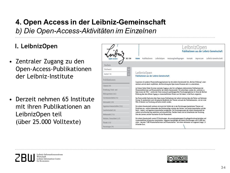 4. Open Access in der Leibniz-Gemeinschaft b) Die Open-Access-Aktivitäten im Einzelnen I.