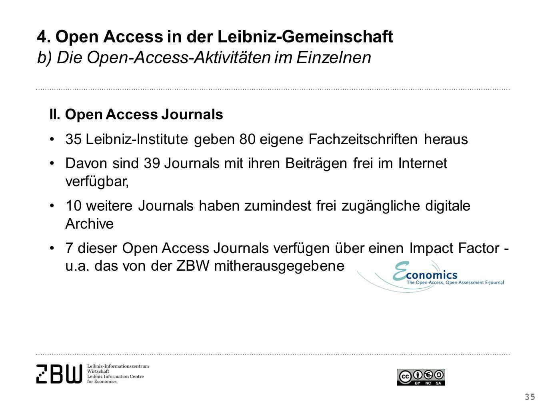 II. Open Access Journals 35 Leibniz-Institute geben 80 eigene Fachzeitschriften heraus Davon sind 39 Journals mit ihren Beiträgen frei im Internet ver