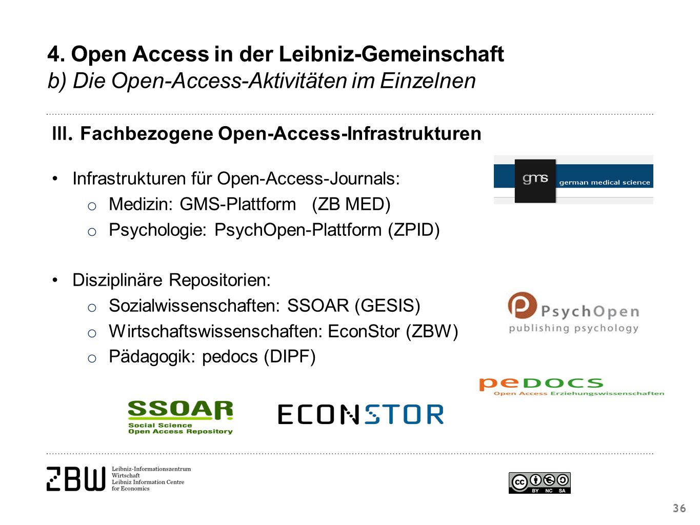 III. Fachbezogene Open-Access-Infrastrukturen Infrastrukturen für Open-Access-Journals: o Medizin: GMS-Plattform(ZB MED) o Psychologie: PsychOpen-Plat