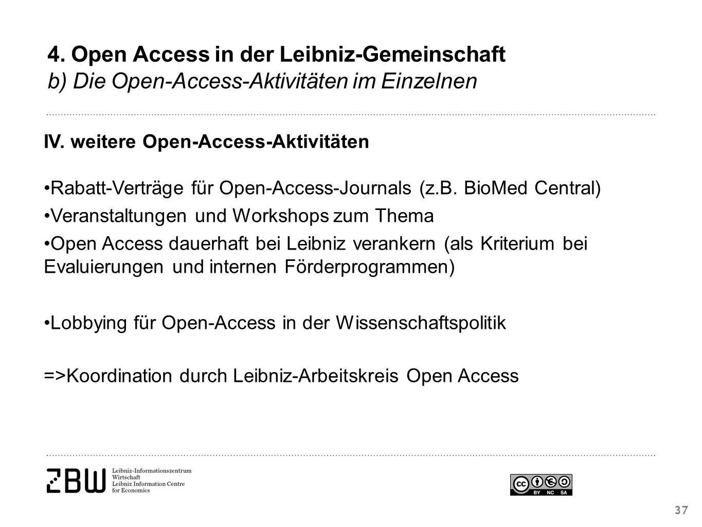 37 IV. weitere Open-Access-Aktivitäten Rabatt-Verträge für Open-Access-Journals (z.B.