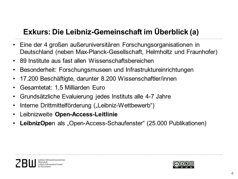"""Exkurs: Die Leibniz-Gemeinschaft im Überblick (a) 4 Eine der 4 großen außeruniversitären Forschungsorganisationen in Deutschland (neben Max-Planck-Gesellschaft, Helmholtz und Fraunhofer) 89 Institute aus fast allen Wissenschaftsbereichen Besonderheit: Forschungsmuseen und Infrastruktureinrichtungen 17.200 Beschäftigte, darunter 8.200 Wissenschaftler/innen Gesamtetat: 1,5 Milliarden Euro Grundsätzliche Evaluierung jedes Instituts alle 4-7 Jahre Interne Drittmittelförderung (""""Leibniz-Wettbewerb ) Leibnizweite Open-Access-Leitlinie LeibnizOpen als """"Open-Access-Schaufenster (25.000 Publikationen)"""