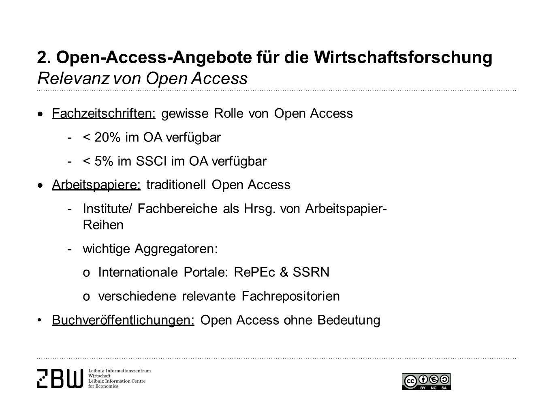 2. Open-Access-Angebote für die Wirtschaftsforschung Relevanz von Open Access  Fachzeitschriften: gewisse Rolle von Open Access -< 20% im OA verfügba