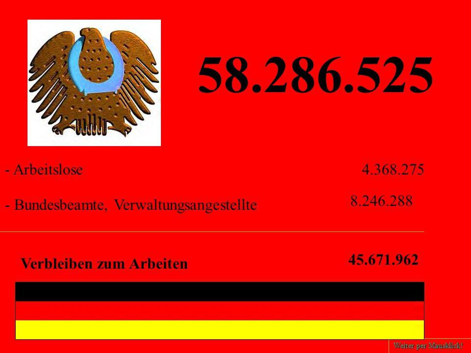 58.286.525 - Bundesbeamte, Verwaltungsangestellte - Arbeitslose4.368.275 8.246.288 Verbleiben zum Arbeiten 45.671.962 Weiter per Mausklick!