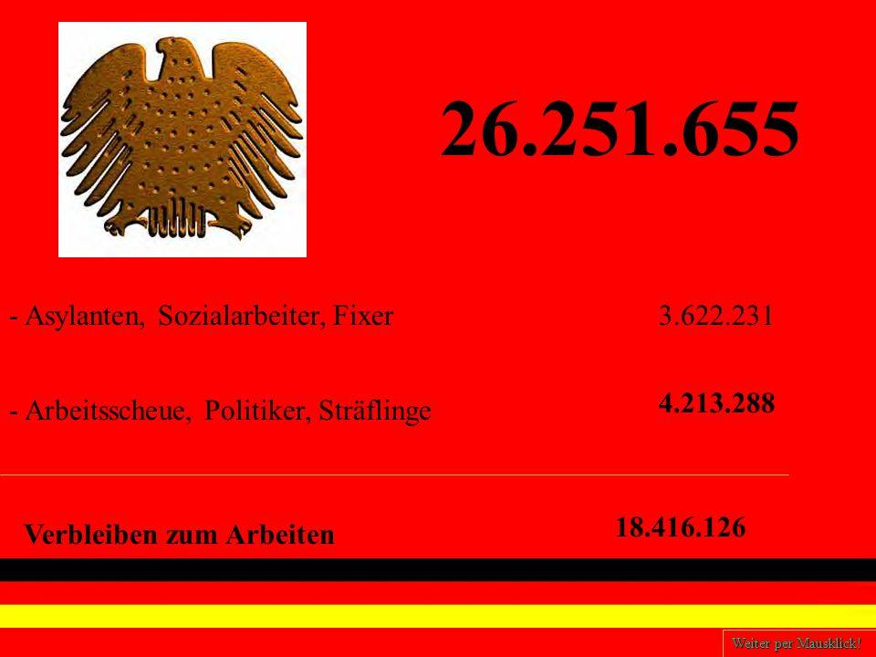 26.251.655 - Arbeitsscheue, Politiker, Sträflinge - Asylanten, Sozialarbeiter, Fixer3.622.231 4.213.288 Verbleiben zum Arbeiten 18.416.126 Weiter per Mausklick!