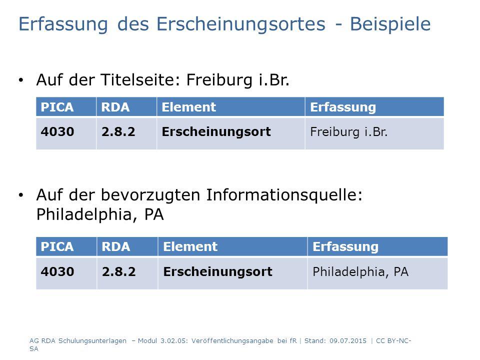 Erfassung des Erscheinungsortes - Beispiele Auf der Titelseite: Freiburg i.Br.