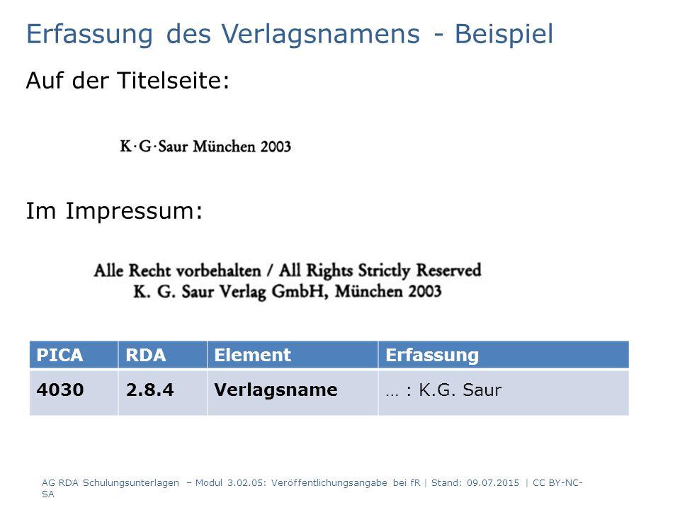 Erfassung des Verlagsnamens - Beispiel Auf der Titelseite: Im Impressum: PICARDAElementErfassung 40302.8.4Verlagsname… : K.G.
