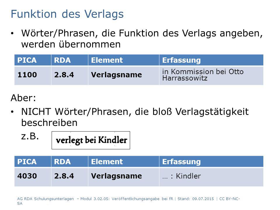 Funktion des Verlags Wörter/Phrasen, die Funktion des Verlags angeben, werden übernommen Aber: NICHT Wörter/Phrasen, die bloß Verlagstätigkeit beschreiben z.B.