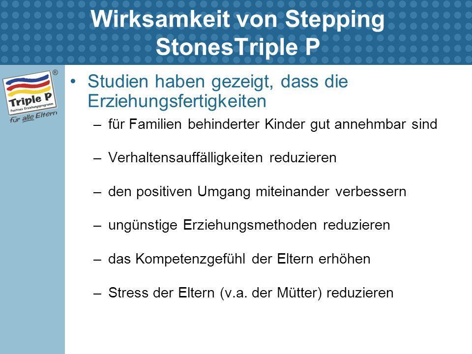 Wirksamkeit von Stepping StonesTriple P Studien haben gezeigt, dass die Erziehungsfertigkeiten –für Familien behinderter Kinder gut annehmbar sind –Ve