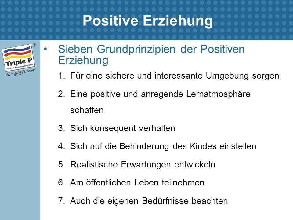Positive Erziehung Sieben Grundprinzipien der Positiven Erziehung 1.Für eine sichere und interessante Umgebung sorgen 2.Eine positive und anregende Le
