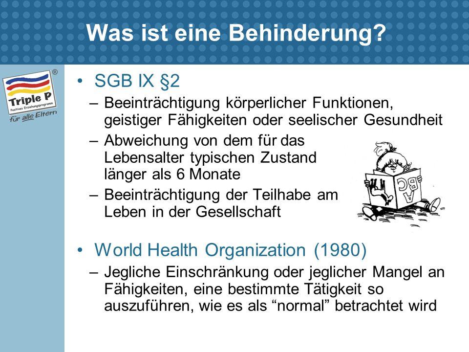 Was ist eine Behinderung? SGB IX §2 –Beeinträchtigung körperlicher Funktionen, geistiger Fähigkeiten oder seelischer Gesundheit –Abweichung von dem fü