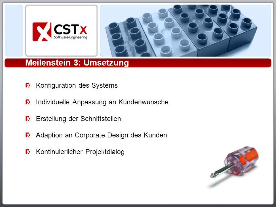 Meilenstein 3: Umsetzung Konfiguration des Systems Individuelle Anpassung an Kundenwünsche Erstellung der Schnittstellen Adaption an Corporate Design des Kunden Kontinuierlicher Projektdialog