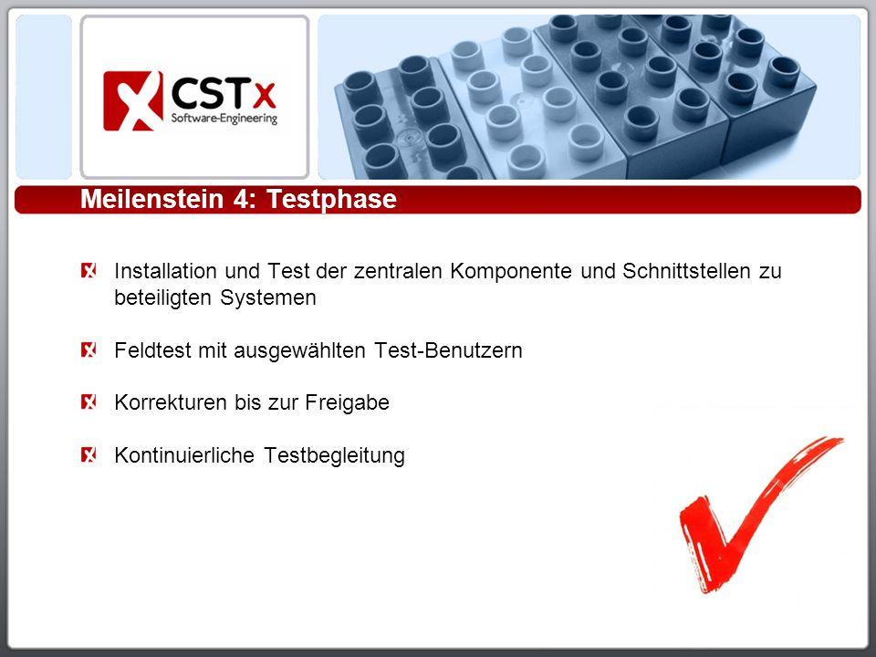 Meilenstein 4: Testphase Installation und Test der zentralen Komponente und Schnittstellen zu beteiligten Systemen Feldtest mit ausgewählten Test-Benutzern Korrekturen bis zur Freigabe Kontinuierliche Testbegleitung