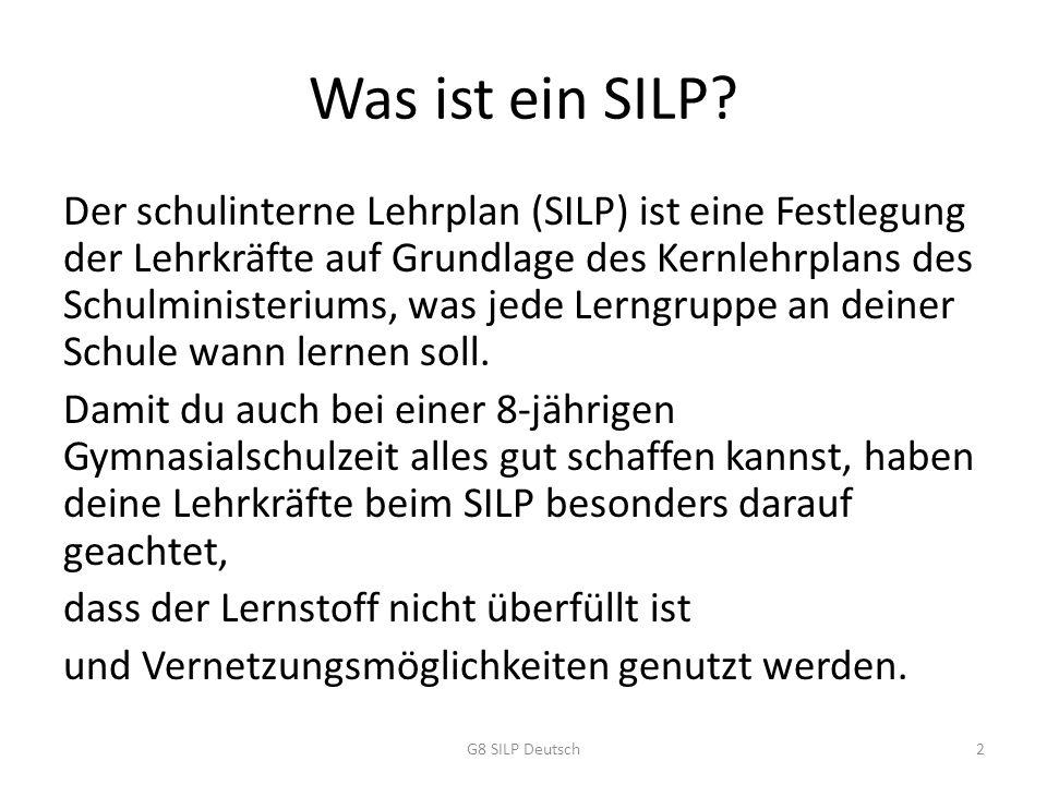 Der Beispiel-SILP An jeder Schule gibt es schon einen SILP.