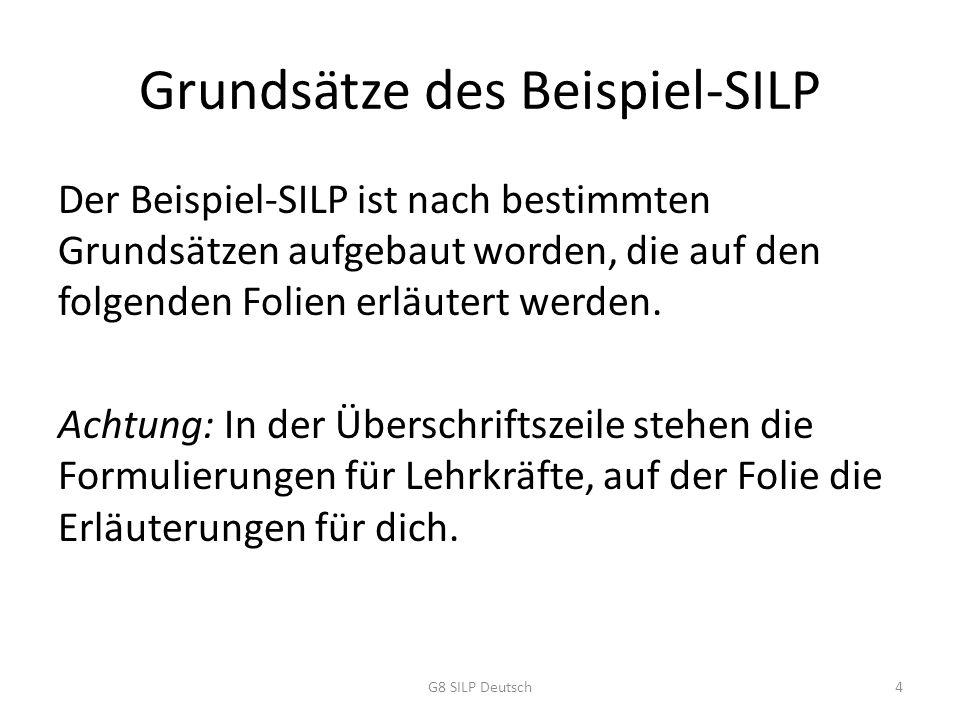 Orientierung am KLP unter Einbezug sämtlicher Kompetenzerwartungen Der SILP stellt sicher, dass in deinem Deutsch- unterricht nichts weggelassen wird, was du für einen erfolgreichen Besuch der Sekundarstufe II gelernt und geübt haben musst.