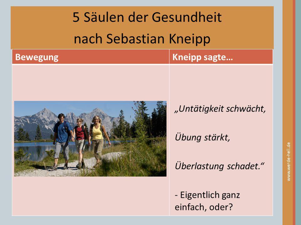 """5 Säulen der Gesundheit nach Sebastian Kneipp BewegungKneipp sagte… www.werde-heil.de """"Untätigkeit schwächt, Übung stärkt, Überlastung schadet."""" - Eig"""