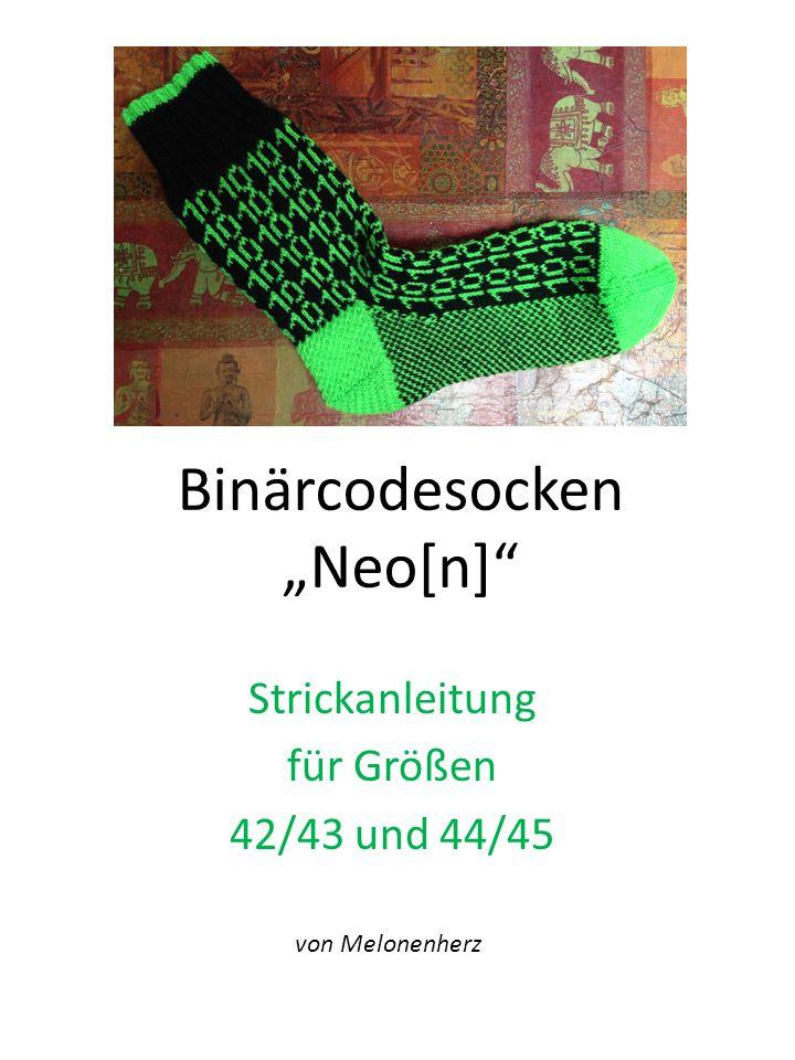 """Binärcodesocken """"Neo[n]"""" Strickanleitung für Größen 42/43 und 44/45 von Melonenherz"""