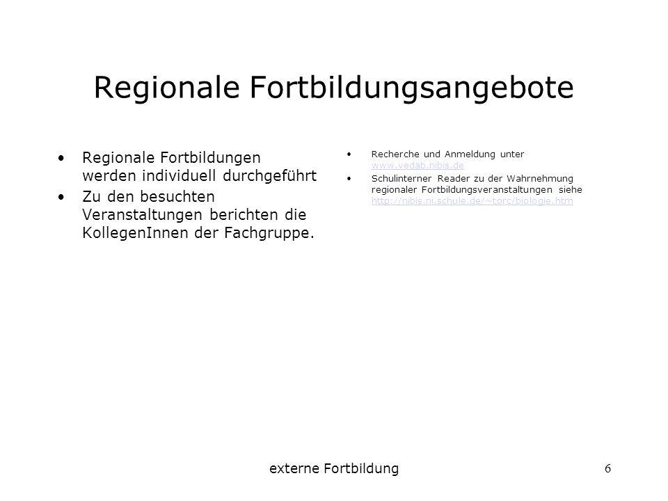 externe Fortbildung6 Regionale Fortbildungsangebote Regionale Fortbildungen werden individuell durchgeführt Zu den besuchten Veranstaltungen berichten