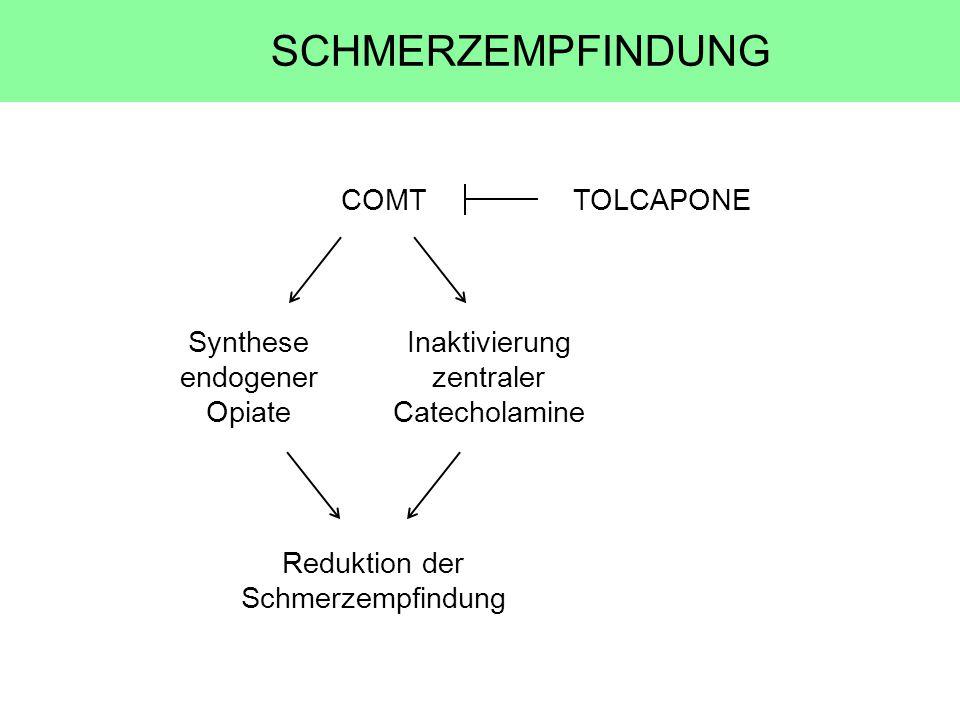 COMTTOLCAPONE Synthese endogener Opiate Inaktivierung zentraler Catecholamine Reduktion der Schmerzempfindung SCHMERZEMPFINDUNG