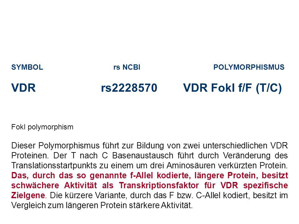 SYMBOL rs NCBI POLYMORPHISMUS VDRrs2228570 VDR FokI f/F (T/C) FokI polymorphism Dieser Polymorphismus führt zur Bildung von zwei unterschiedlichen VDR Proteinen.