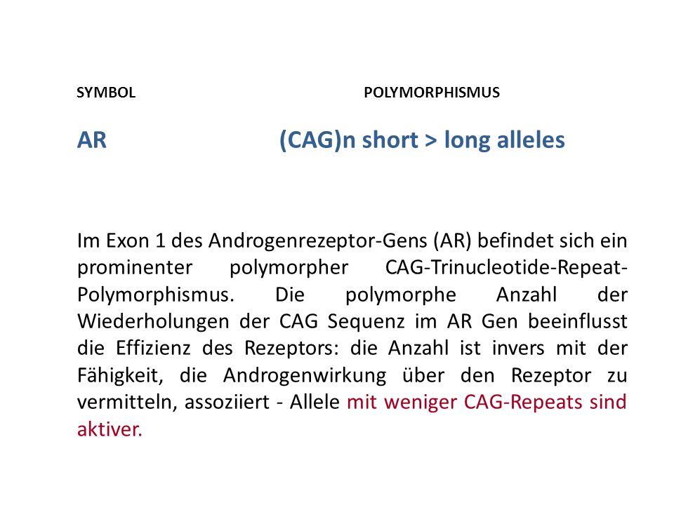 SYMBOL POLYMORPHISMUS AR(CAG)n short > long alleles Im Exon 1 des Androgenrezeptor-Gens (AR) befindet sich ein prominenter polymorpher CAG-Trinucleoti