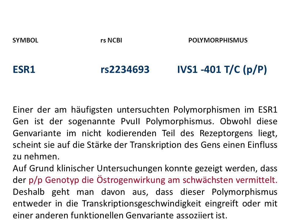 SYMBOLrs NCBIPOLYMORPHISMUS ESR1rs2234693 IVS1 -401 T/C (p/P) Einer der am häufigsten untersuchten Polymorphismen im ESR1 Gen ist der sogenannte PvuII Polymorphismus.